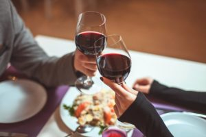 Romantic dining coating with red wine