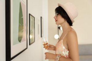 you woman at Art Gallery walk downtown Brattleboro