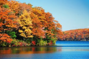 Great fall hiking with autumn colorful foliage over lake with beautiful woods