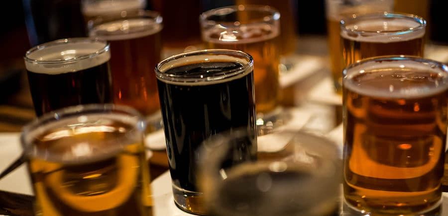 A flight of sample ales and beers at Whetstone Restaurant